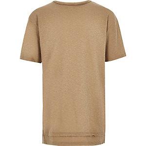 T-shirt grège à ourlet superposé pour garçon