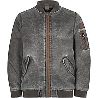 Boys grey acid wash bomber jacket
