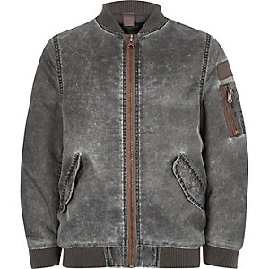 Boys grey acid wash bomber jacket
