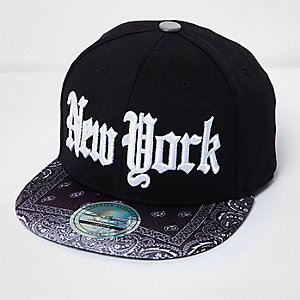 Boys black bandana print New York cap