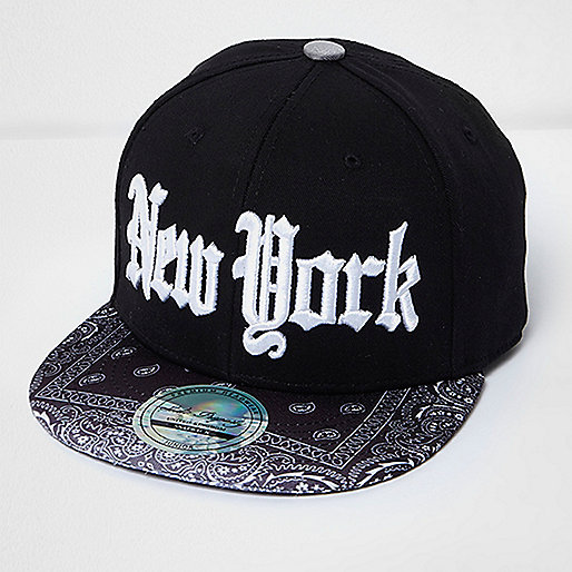 Boys black bandana print New York cap