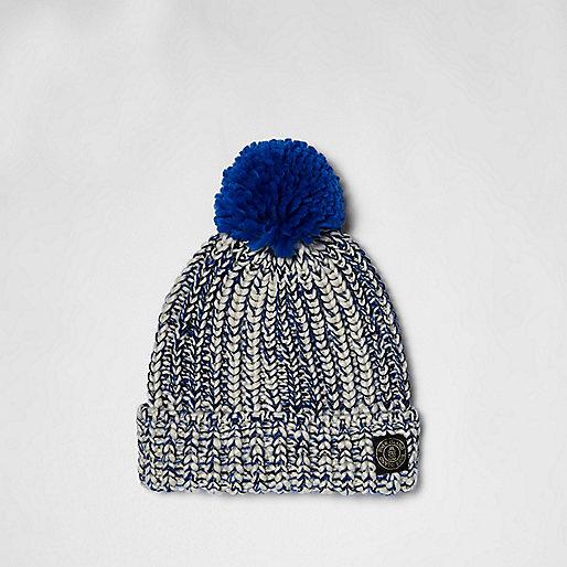 Boys blue twist knit bobble hat