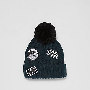 Boys green twist knit badge bobble hat
