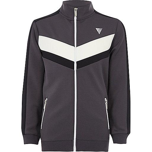 Boys grey block panel zip track jacket