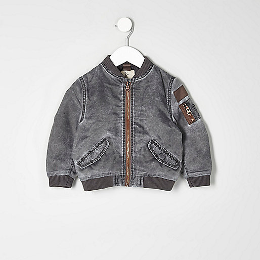 Mini boys grey acid wash bomber jacket