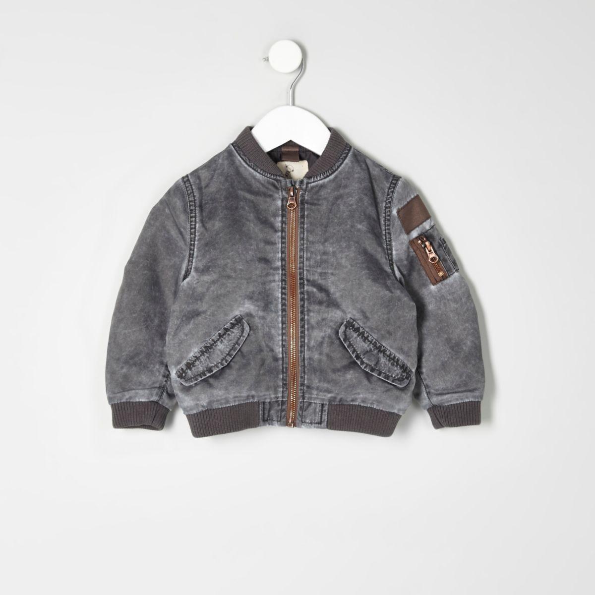 Mini boys grey acid wash bomber jacket