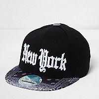 Mini boys black bandana print NY cap
