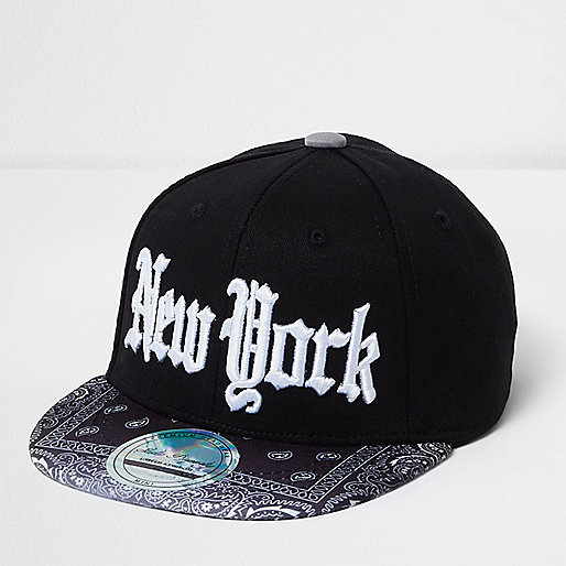 Mini boys black bandana print NY cap
