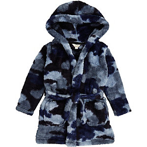 Mini boys blue camo dressing gown