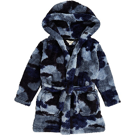 Mini boys blue camo dressing gown