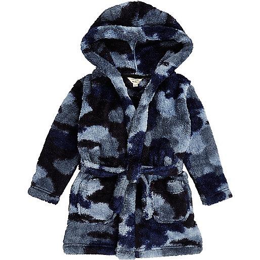 Robe de chambre camouflage bleue mini garçon
