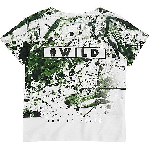 Weißes T-Shirt mit Spritzer- und Camouflage-Muster