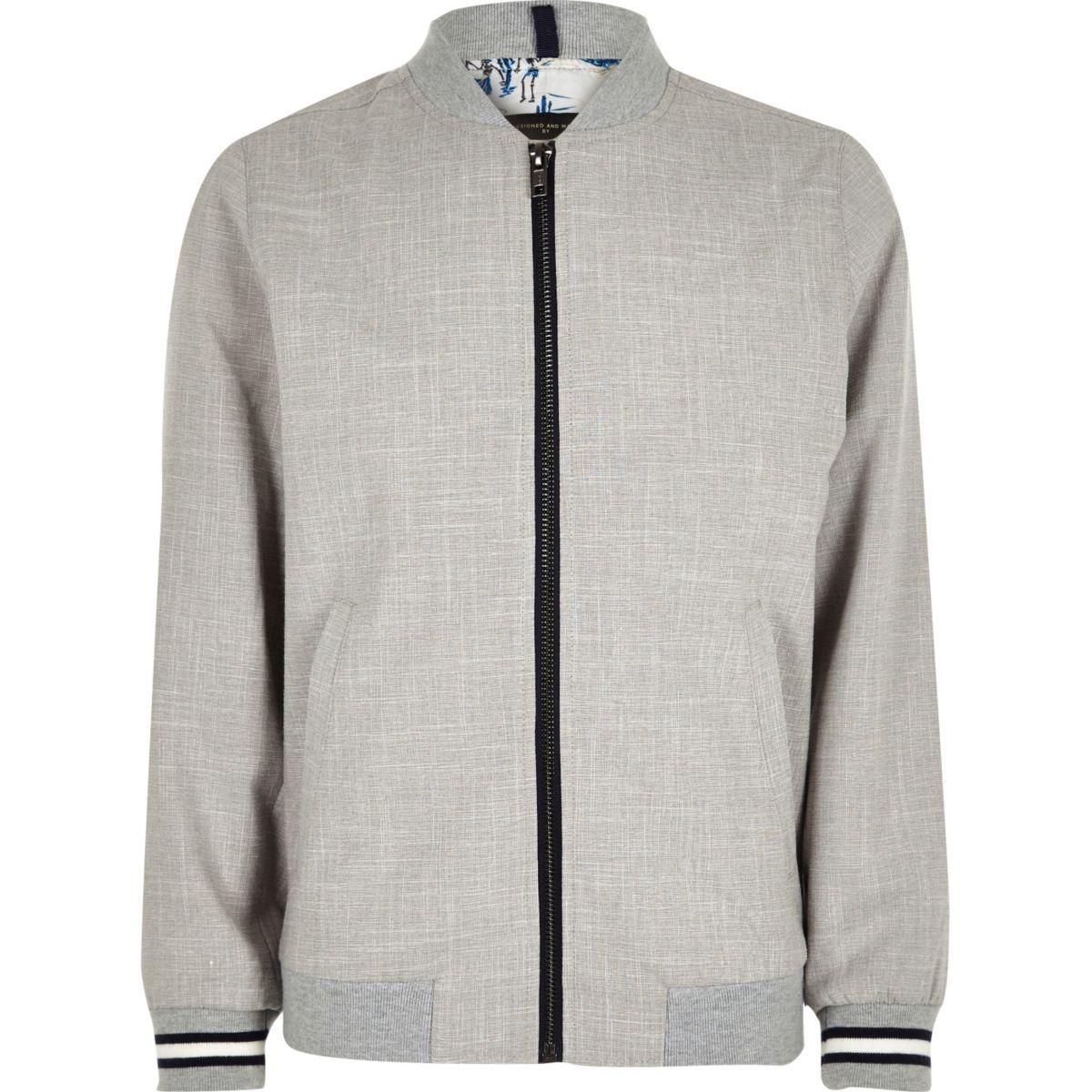 Boys grey textured bomber jacket