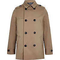 Boys brown smart mac jacket