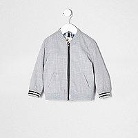 Mini boys grey textured bomber jacket