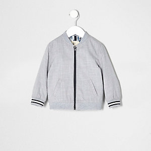 Mini boys grey textured bomber jacket