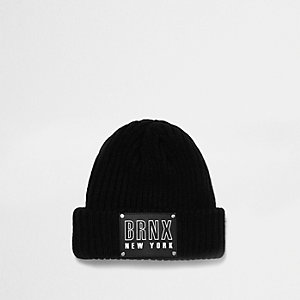 Boys black knit badge beanie