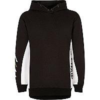 Boys black colour block hoodie