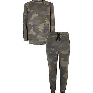 Jogginganzug in Khaki mit Camouflage-Muster