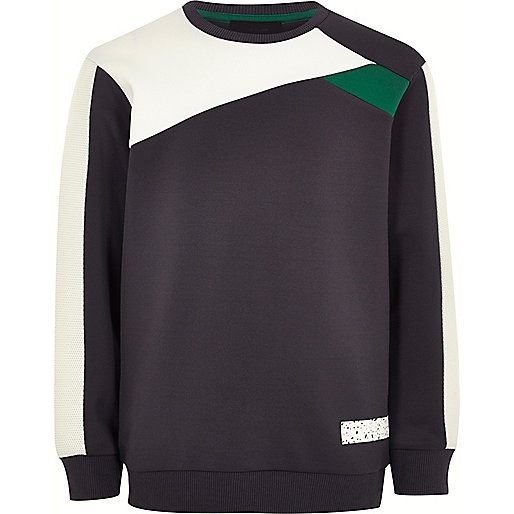 Boys grey colour block sweatshirt