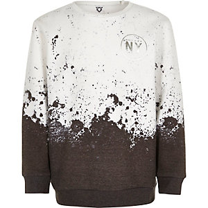 Boys white paint splatter sweatshirt