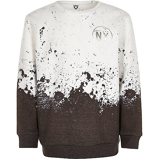 Boys white paint splatter sweatshirt