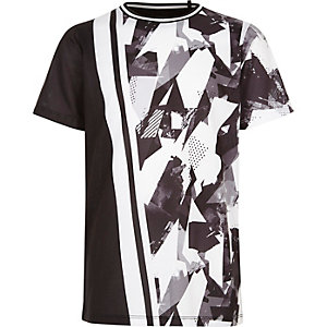 Boys boys black spliced camo print T-shirt