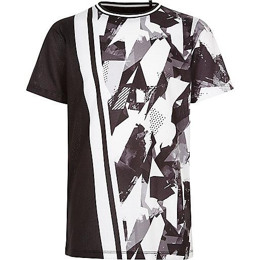 Boys boys black spliced camo print T-shirt