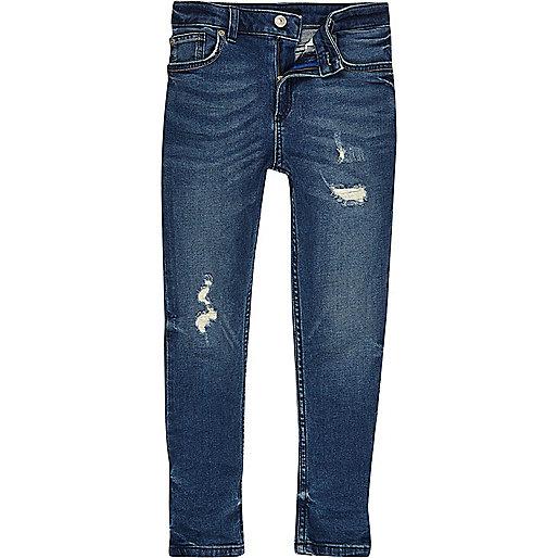 Boys mid blue distressed Sid skinny jeans