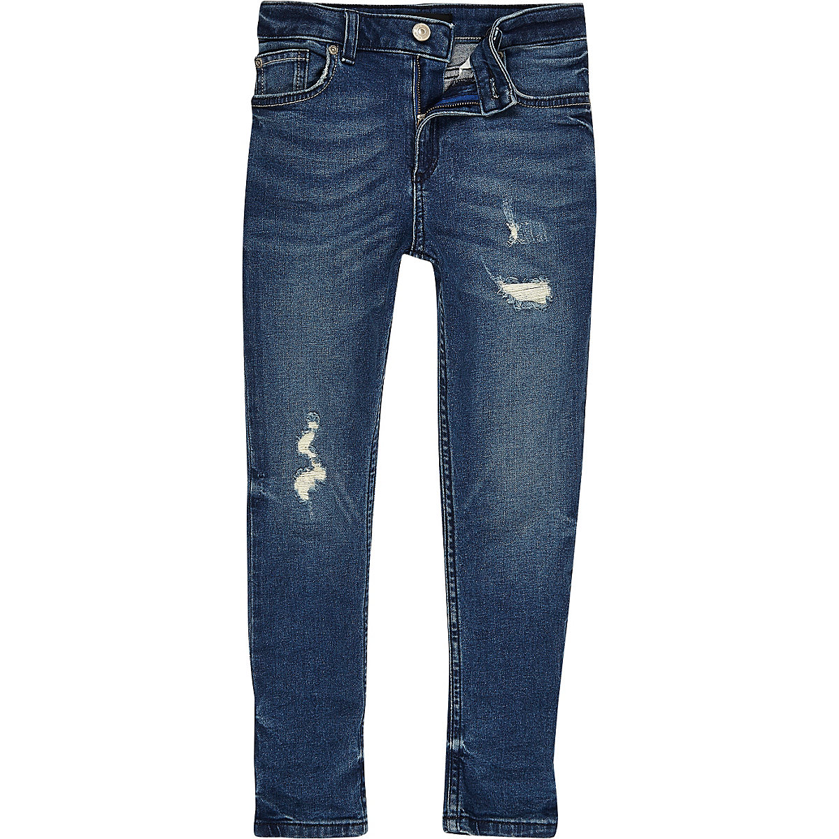 Boys mid blue distressed Sid skinny jeans