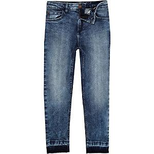 Dylan - Blauwe acid wash slim-fit jeans voor jongens