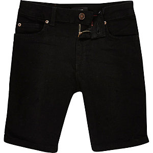 Boys black Dylan slim fit denim shorts