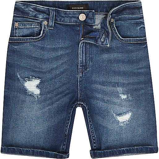 Boys blue wash distressed Dylan shorts