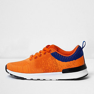 Boys orange mesh runner trainers