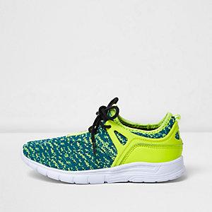 Boys fluro yellow mesh runner trainers