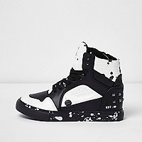 Boys black and white paint splatter trainers
