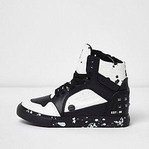 Boys black and white paint splatter sneakers