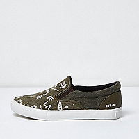 Boys khaki green grafitti slip on plimsolls