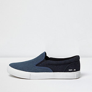 Boys dark blue denim slip on plimsolls