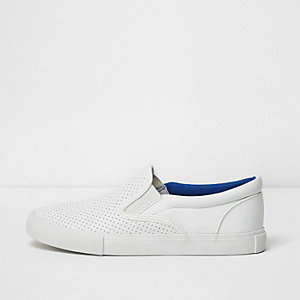 Boys white perforated pumps