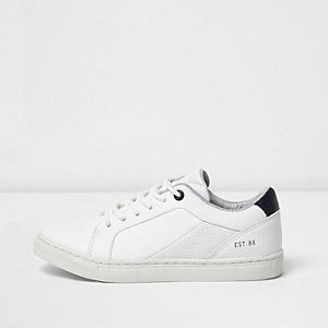 Boys white leather look trainers