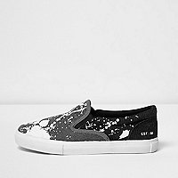 Boys grey paint splatter slip on plimsolls