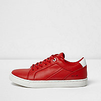Boys red faux leather trainers