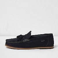 Boys navy blue suede tassel loafers