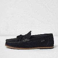 Boys navy blue suede tassel loafers