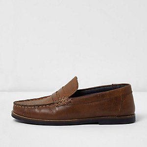 Boys brown embossed leather loafers