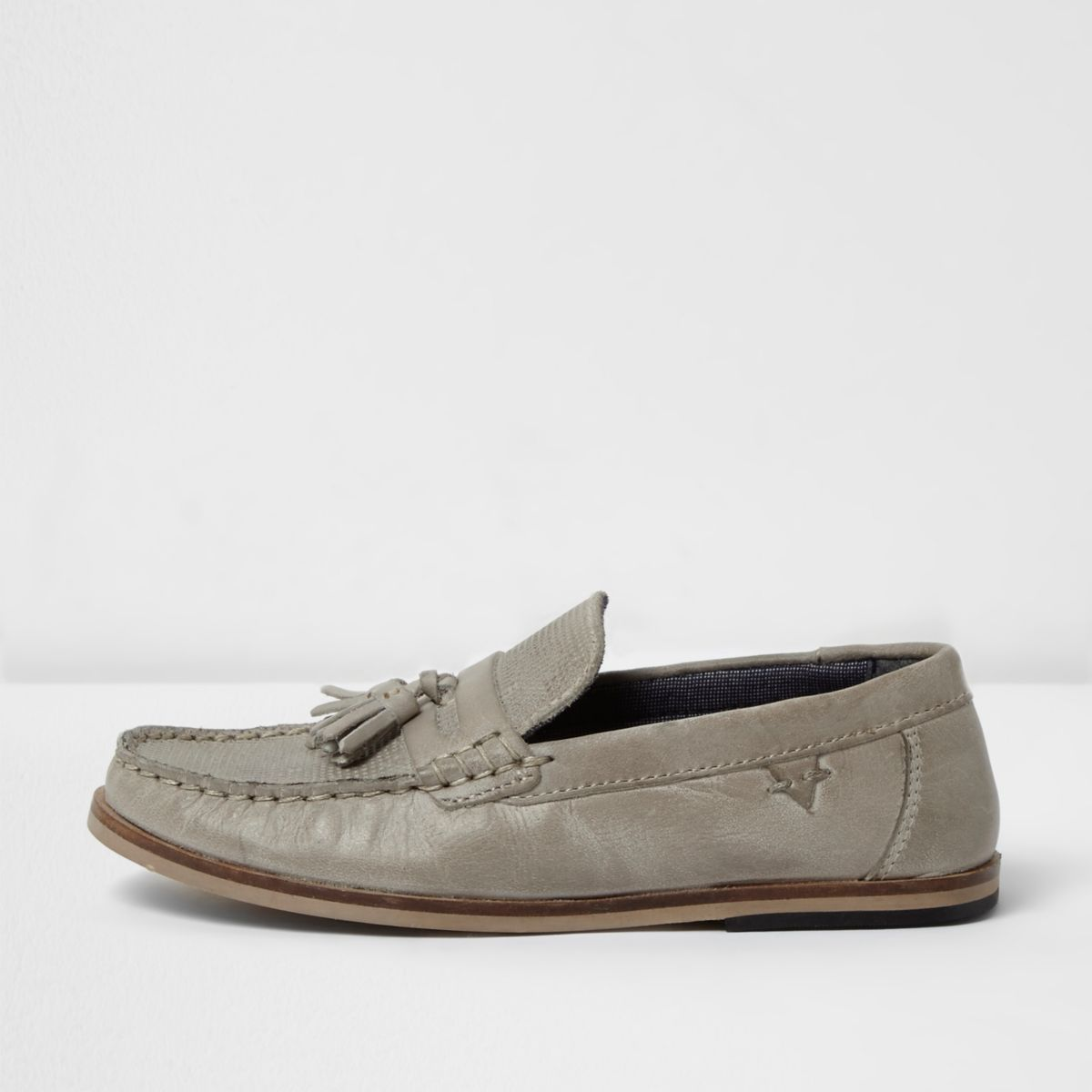 Boys grey leather tassel loafers