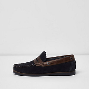 Boys navy loafer shoes