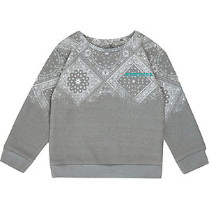 Mini boys grey paisley print sweatshirt