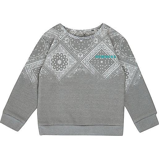 Mini boys grey paisley print sweatshirt